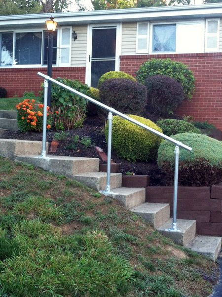 15 Customer Railing Examples For Concrete Steps Outdoor | Steel Handrails For Concrete Steps