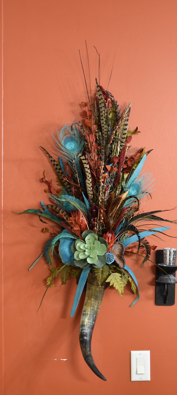 Steer Horn Wall Piece Southwestern Floral Arrangement ... on Decorative Wall Sconces For Flowers Arrangements id=84175
