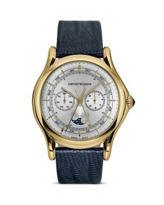 Emporio Armani Swiss Made Light Gold Ion Plated Lizard Strap Watch, 44mm | Bloomingdale's
