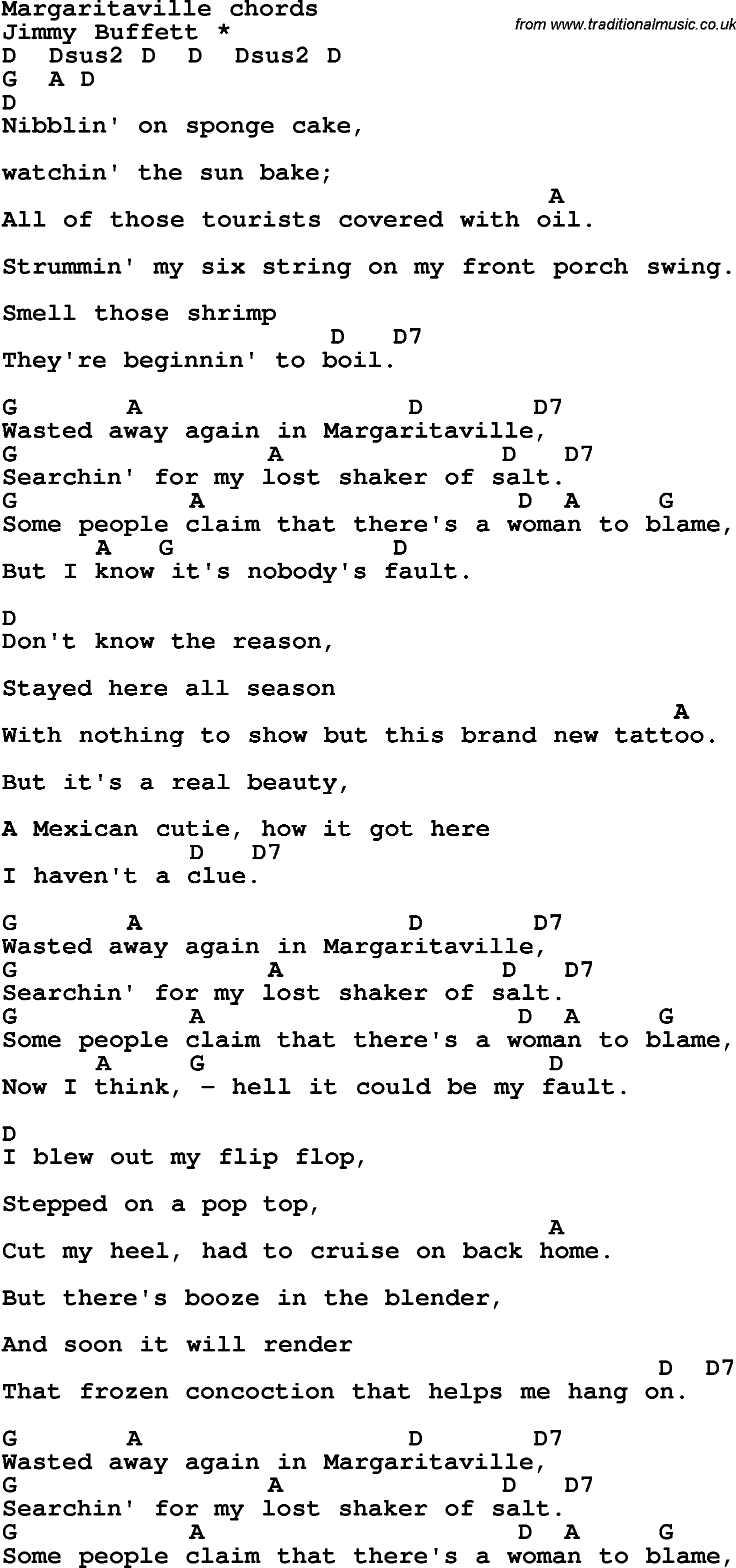 Song Lyrics With Guitar Chords For Margaritaville Tablature