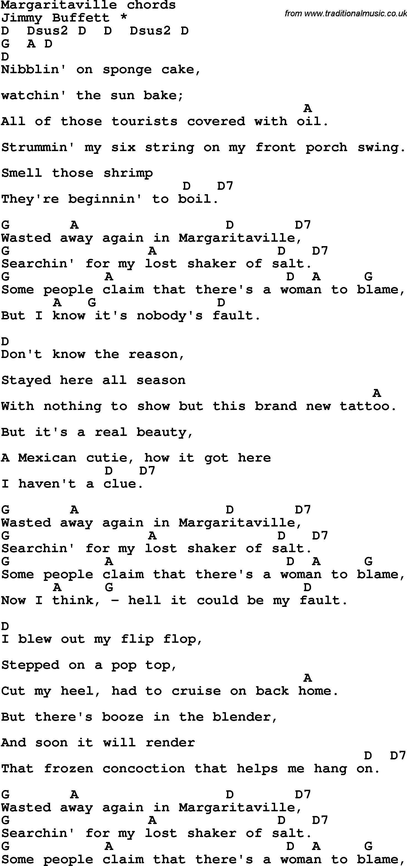 Song Lyrics With Guitar Chords For Margaritaville Ukulele