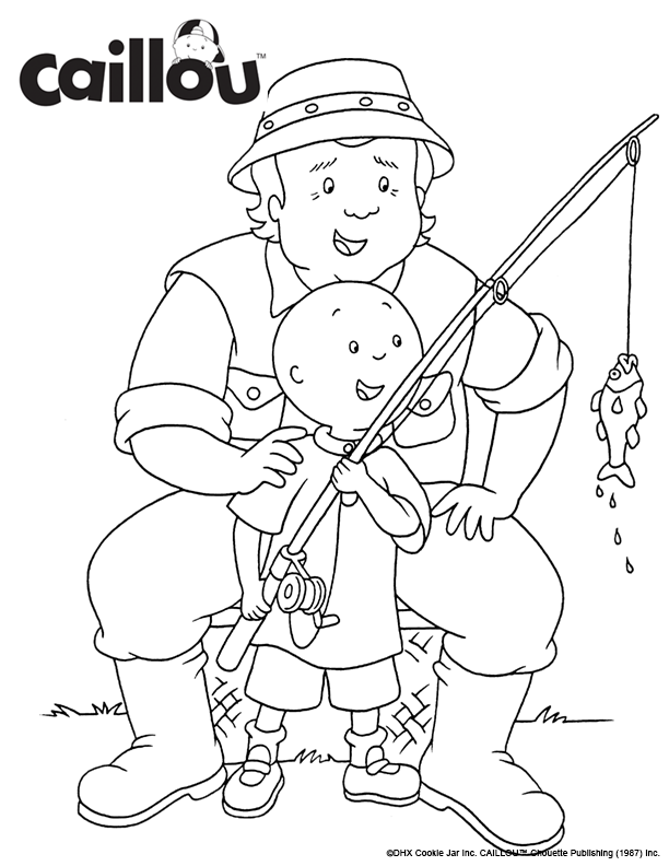 print color caillou fishing with grandpa coloring sheet activity grandparentsday - Caillou Gilbert Coloring Pages