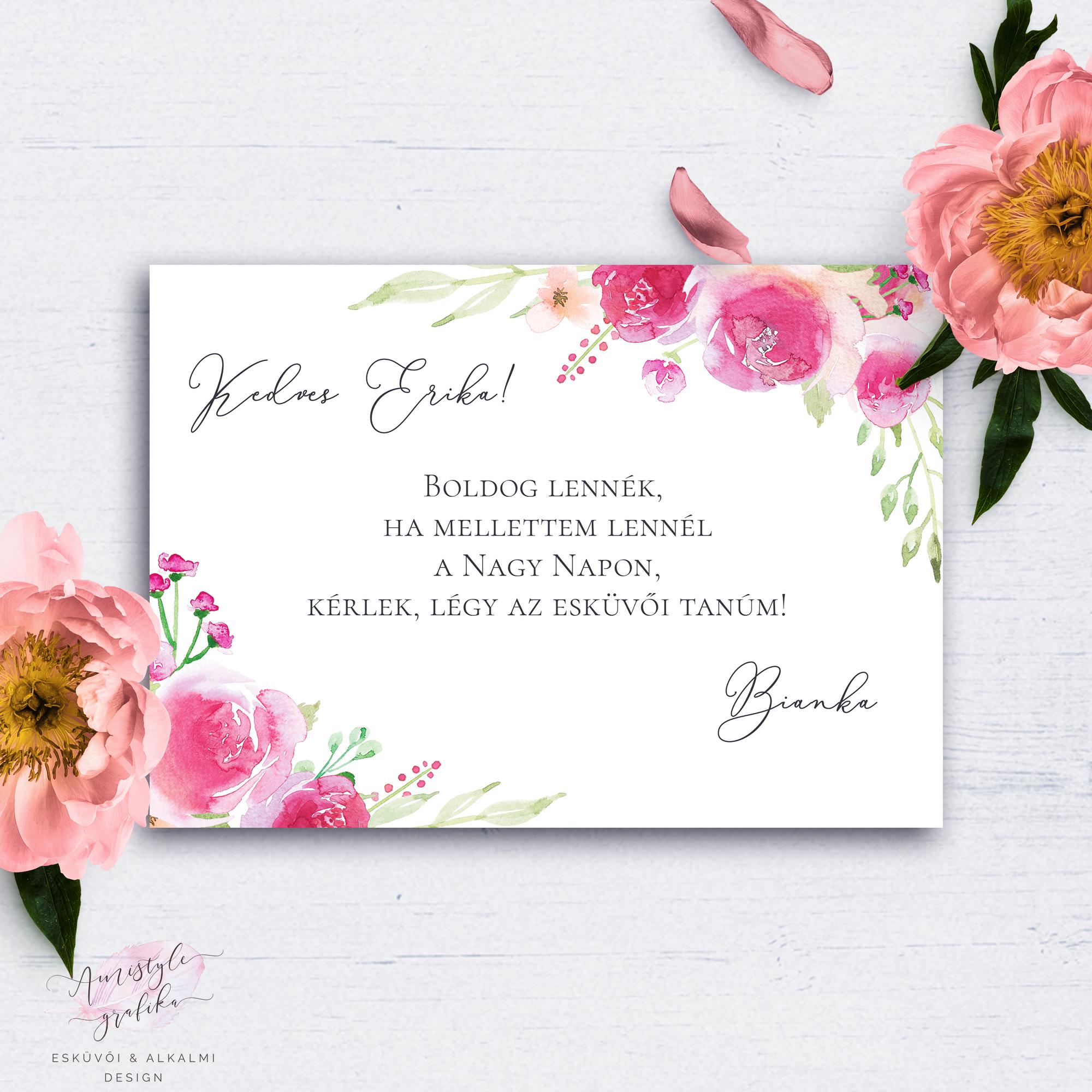 f0a1a2ca95 Pink-Barack Virágos Esküvői Tanú Felkérő Kártya - Esküvői Meghívó, Alkalmi  és Családi Grafika