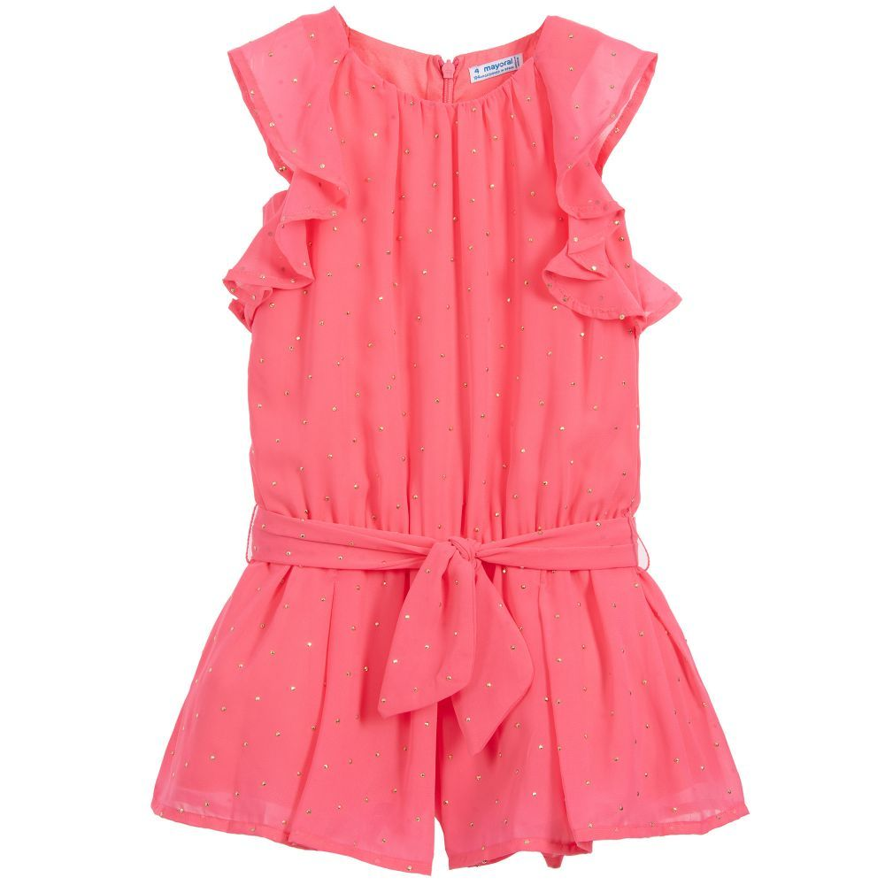 30ce270472f Girls pink chiffon playsuit from Mayoral