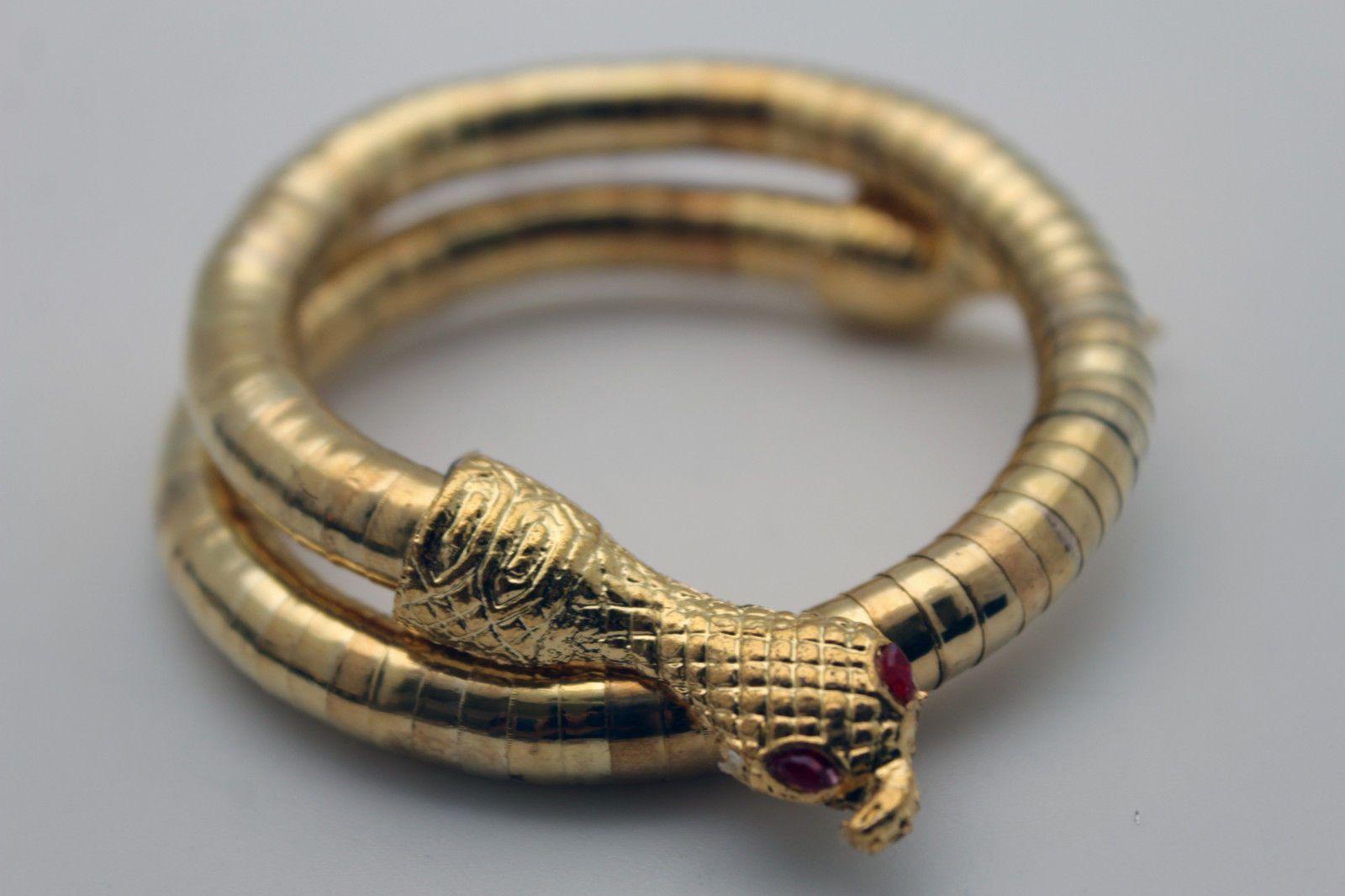 5a1dfb8c8f7 Gold Silver Cobra Snake Red Eyes Bracelet High Arm Cuff Bangle New ...