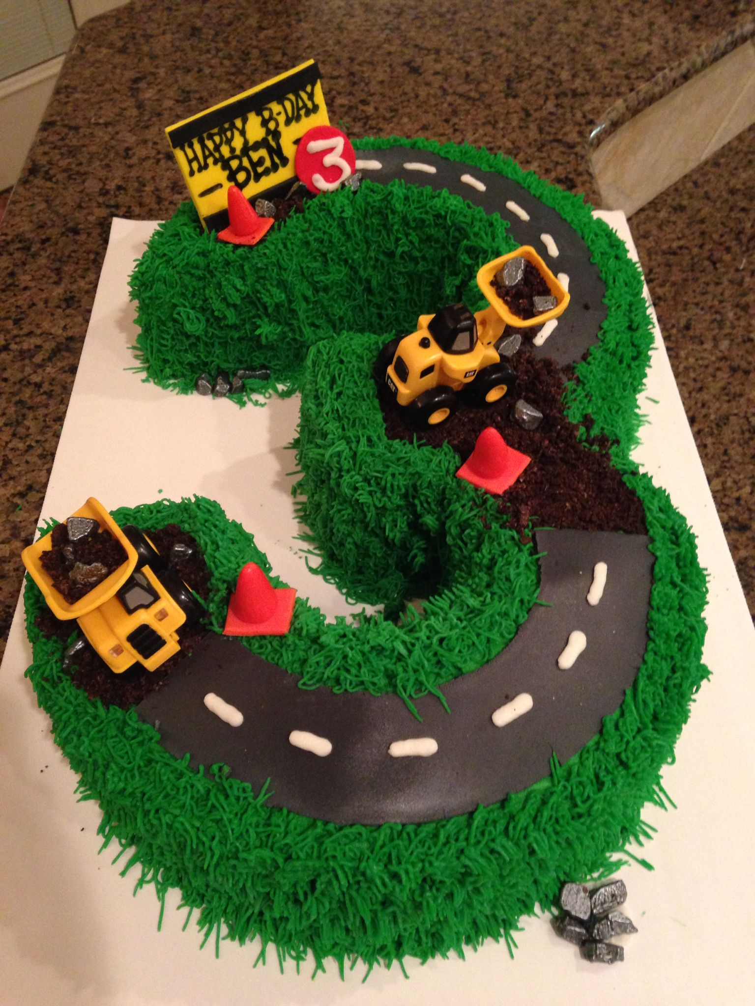 Phenomenal Construction Cake For 3Rd Birthday Buttercream With Fondant Funny Birthday Cards Online Alyptdamsfinfo