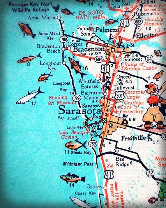 West Side Of Florida Map.Sarasota Bradenton Retro Beach Map Print 11x14 Funky Vintage