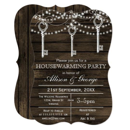 Barnwood Vintage Keys Rustic Housewarming Invites