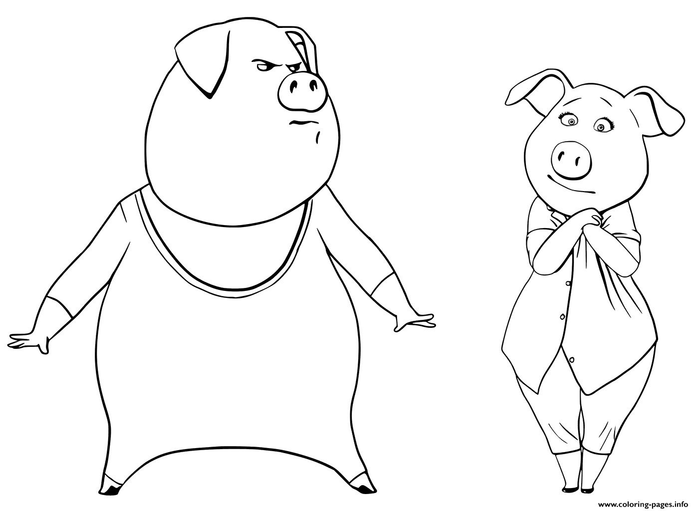 Print Pigs from Sing Coloring Pages Gunter and Rosita coloring pages ...