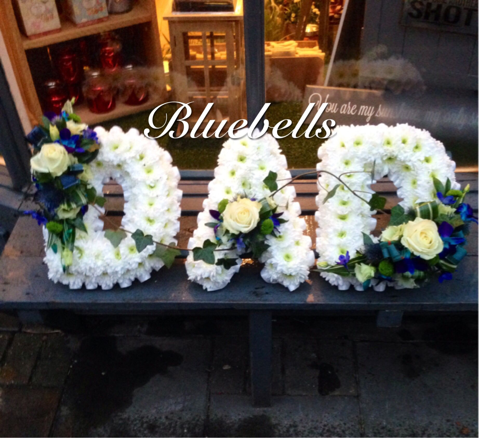Funeral Flower Names Bluebells Letters Arrangement Pinterest
