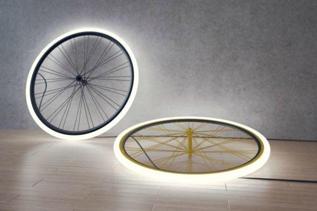 Riciclo biciclette per lampade costruire con materiali di riciclo