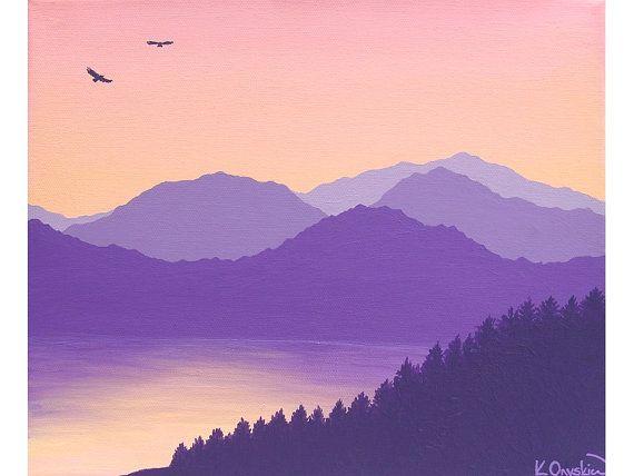 Original Acrylic Painting By Kim Onyskiw Landscape Painting Of Purple In 2020 Landscape Paintings Silhouette Painting Sky Painting