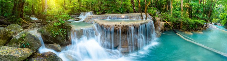 Panoramic Beautiful Deep Forest Waterfall In Thailand Affiliate