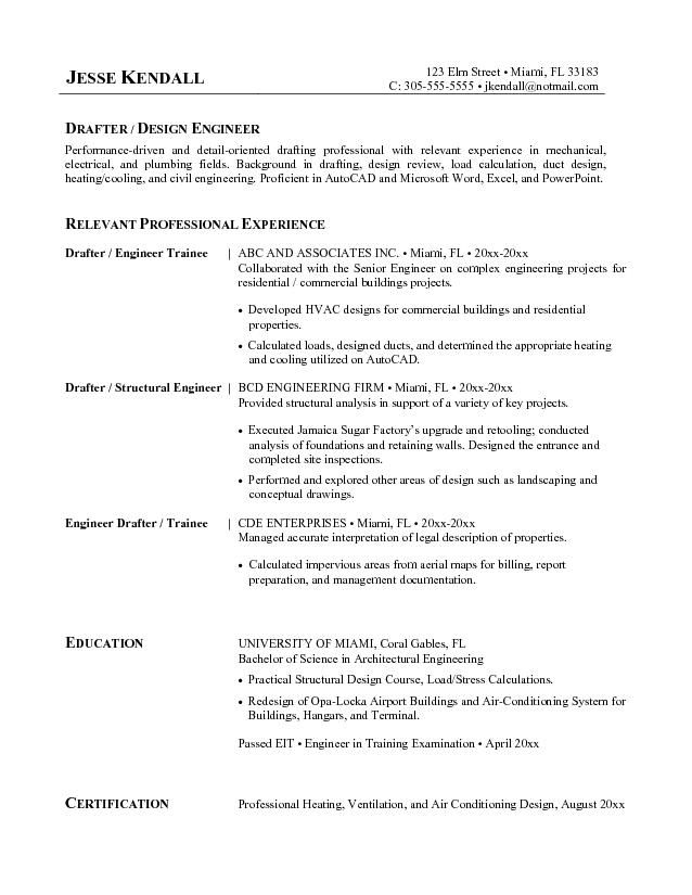Draftsperson Cover Letter Sample -    wwwresumecareerinfo - entry level hvac resume sample