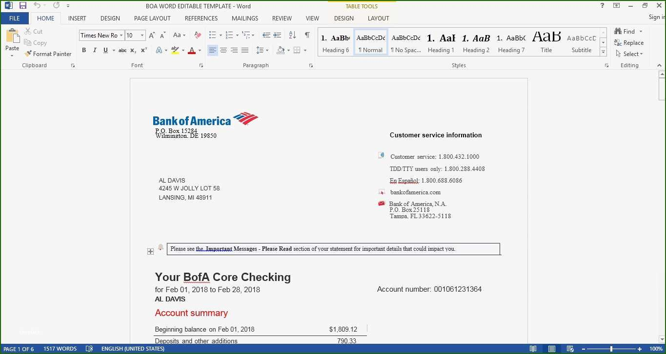 Astonishing Bank Of America Bank Statement Template With Photos 2020 Template For Free In 2020 Statement Template Word Template Bank Statement