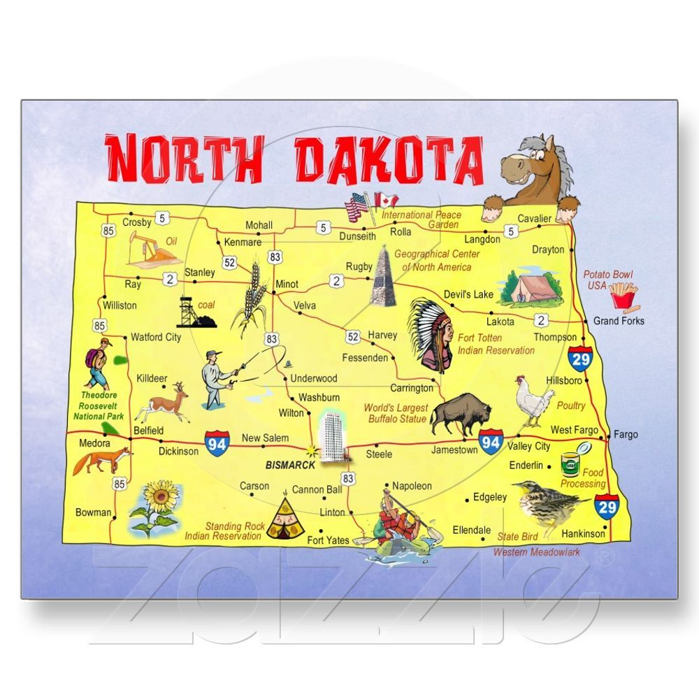 North Dakota State Map Postcard North Dakota Post Card And Buckets - North dakota map united states