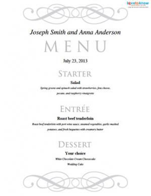 Free Printable Wedding Menu Templates Menu templates Menu and