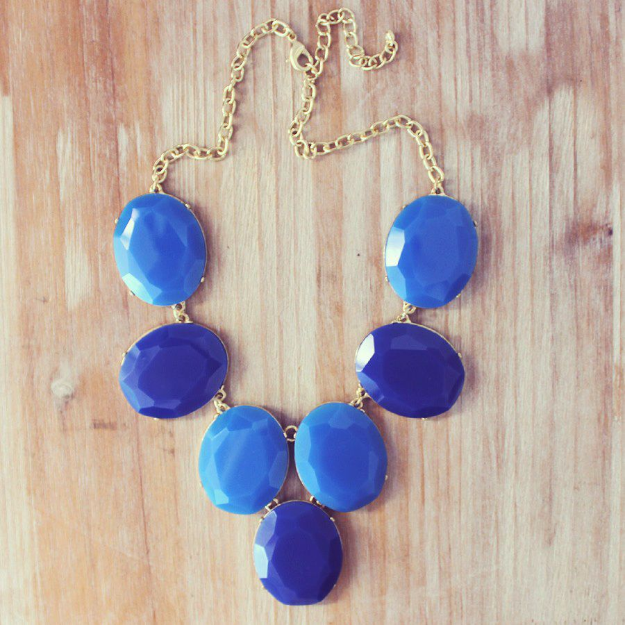 Blue Faceted Stone Statement Necklace