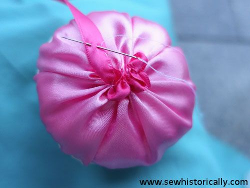ribbon rose powder puff