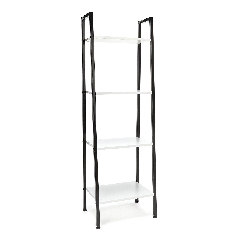 Amazon shelf ladder bookcase modern free standing bookshelf