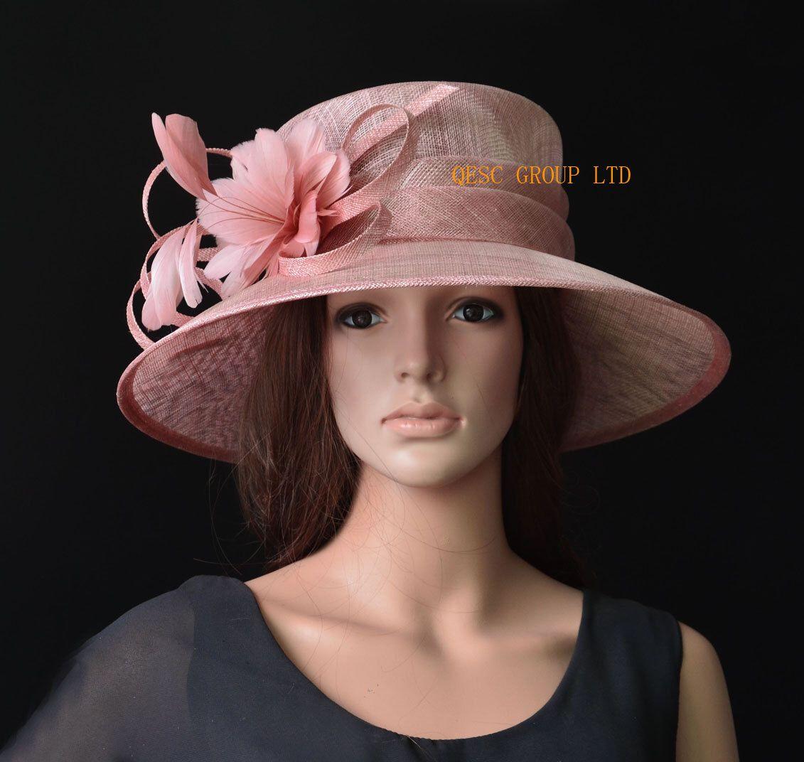 a0fcb892eda Blush pink big brim sinamay hat Formal dress Hat church hat for Kentucky  derby