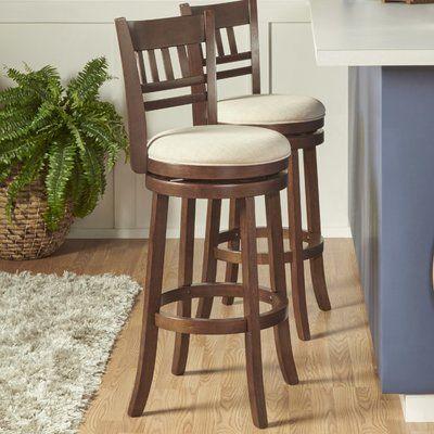 Leda Swivel Bar Counter Stool Frame Color Cherry Seat Color Beige Seat Height Bar Stool 29 Seat Height In 2020 Bar Stools Swivel Counter Stools Counter Stools