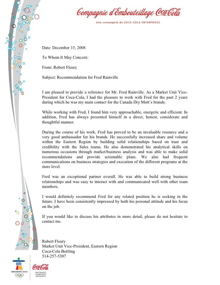 Recommendation Letter  Letters Of Reference