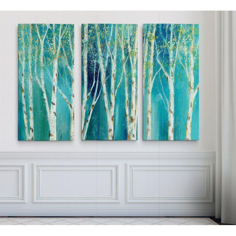 Birch on Blue - Multi-Piece Image on Canvas