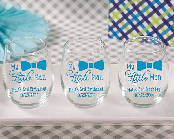 Baby Shower Favors Glasses ~ Personalized quot my little man printed stemless wine glass