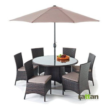 Garden Furniture 6 Seater Round java 6 seater round table rattan garden dining set: amazon.co.uk