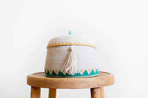 Cute cotton basket with linen tassel..cozy, boho, gold, green, natural