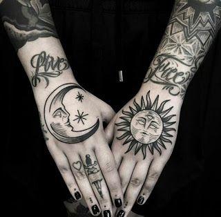 Inspirações tatoos sol e lua