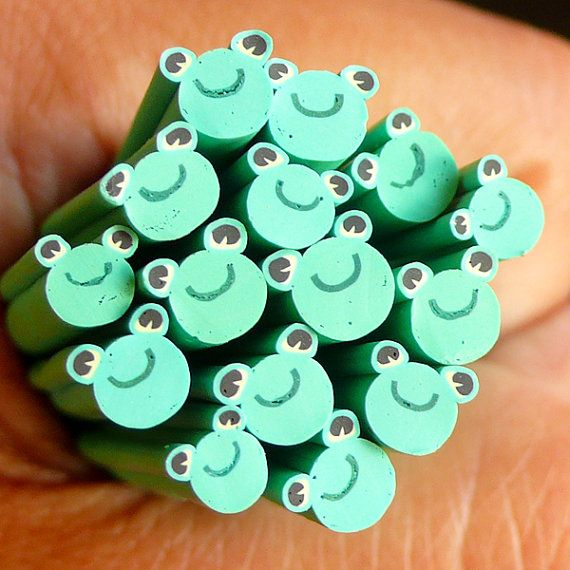 Frog Fimo Cane Animal Polymer Clay Cane Fake by MiniatureSweet ...