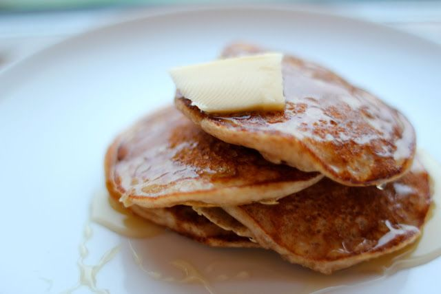 Pear and almond pancakes.  The pancakes have no added sugar but taste sweet because of the almonds and pears.  My 2 year old ate two as they were but I love them with honey and butter.  Just what you need when baby it's cold outside!
