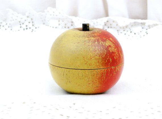 Vintage apple-shaped wooden box