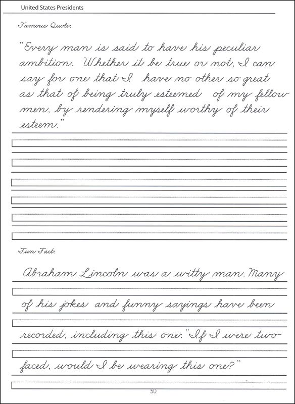 presidents worksheets – Zaner Bloser Handwriting Worksheets