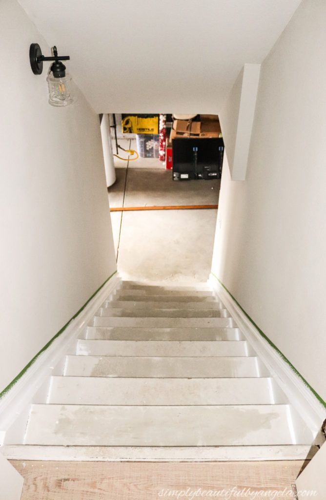 Best Faux Wood Makeover On Basement Stairs Particle Board 640 x 480