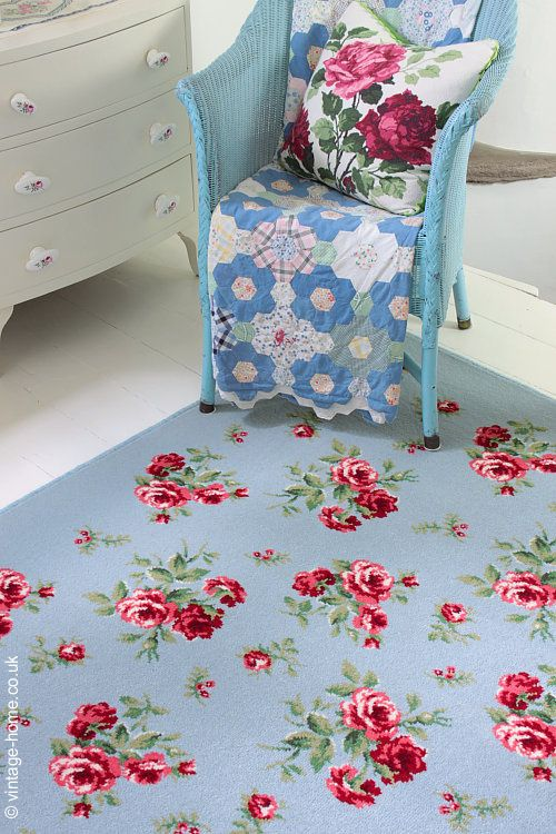 Vintage Home Rare Pink Roses On Blue Rug Granny Chic