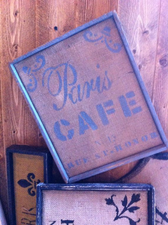 French+Country+Paris+Cafe+sign+on+natural+by+OldeParisFleaMarket,+$19.95