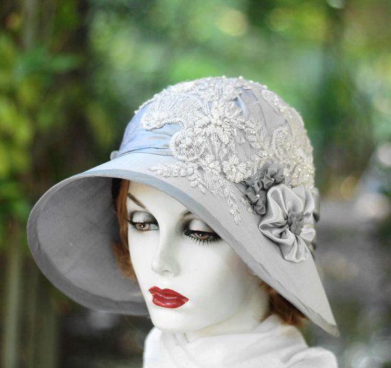Wide Brim Hat Blue Straw Hat for Women Handmade Hat Vintage Style Wedding Hats Ladies Hat Downton Abbey Hat Cloche Hat Millinery