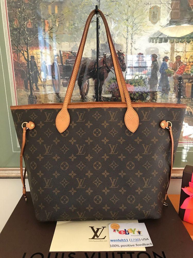 6aab8024587f Louis Vuitton Receipt Neverfull MM Monogram Shoulder Tote Handbag Purse