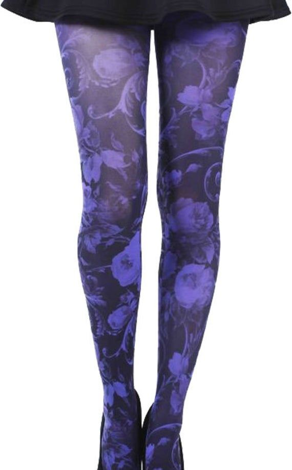 Twilight purple floral Tights, opaque pantyhose for women available in plus size tights. Gift for he