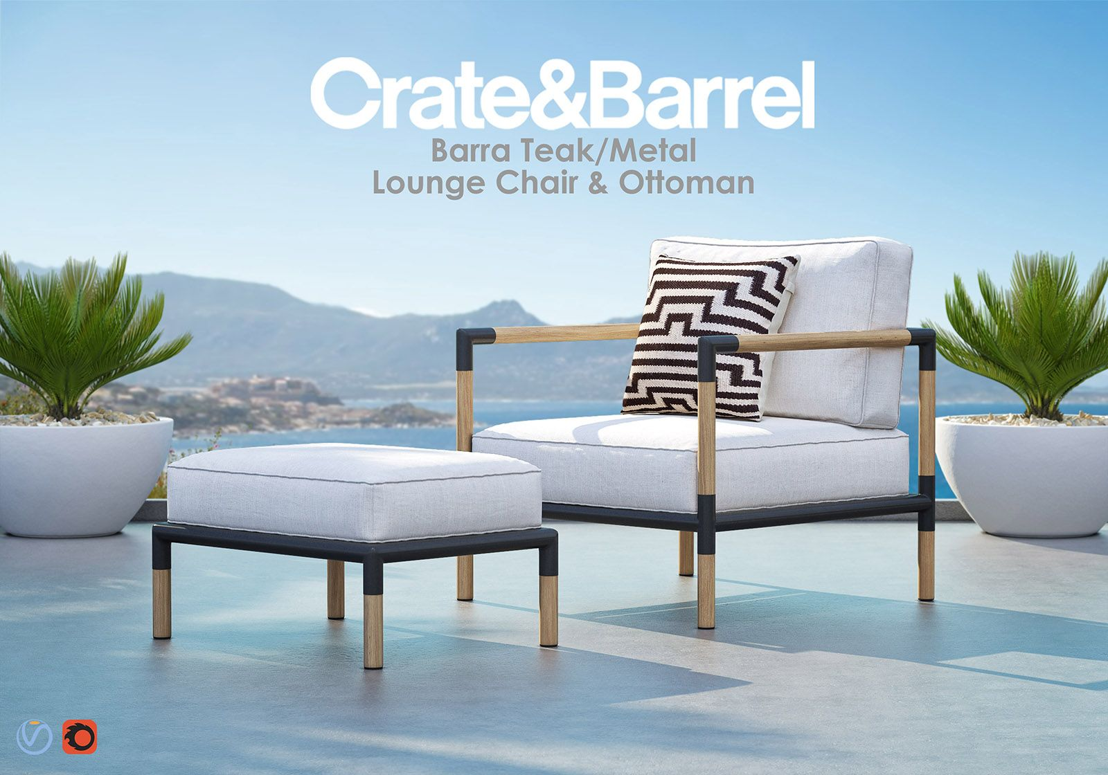 Barra Teak Metal Lounge With Ottoman From Crate Barrel