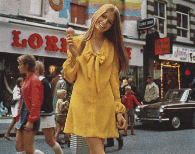 SWEET JANE: London Boutique Fashion 1970 Mini dress in yellow satin from Carnaby Girl.