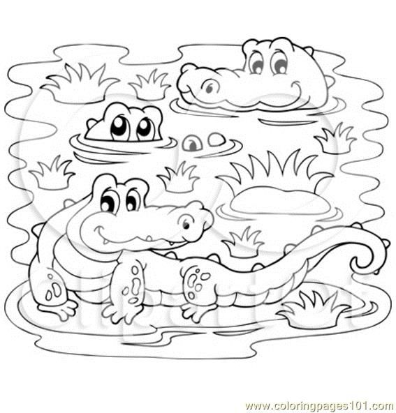 Crocodiles In A Swamp Coloring Page Free Printable Coloring
