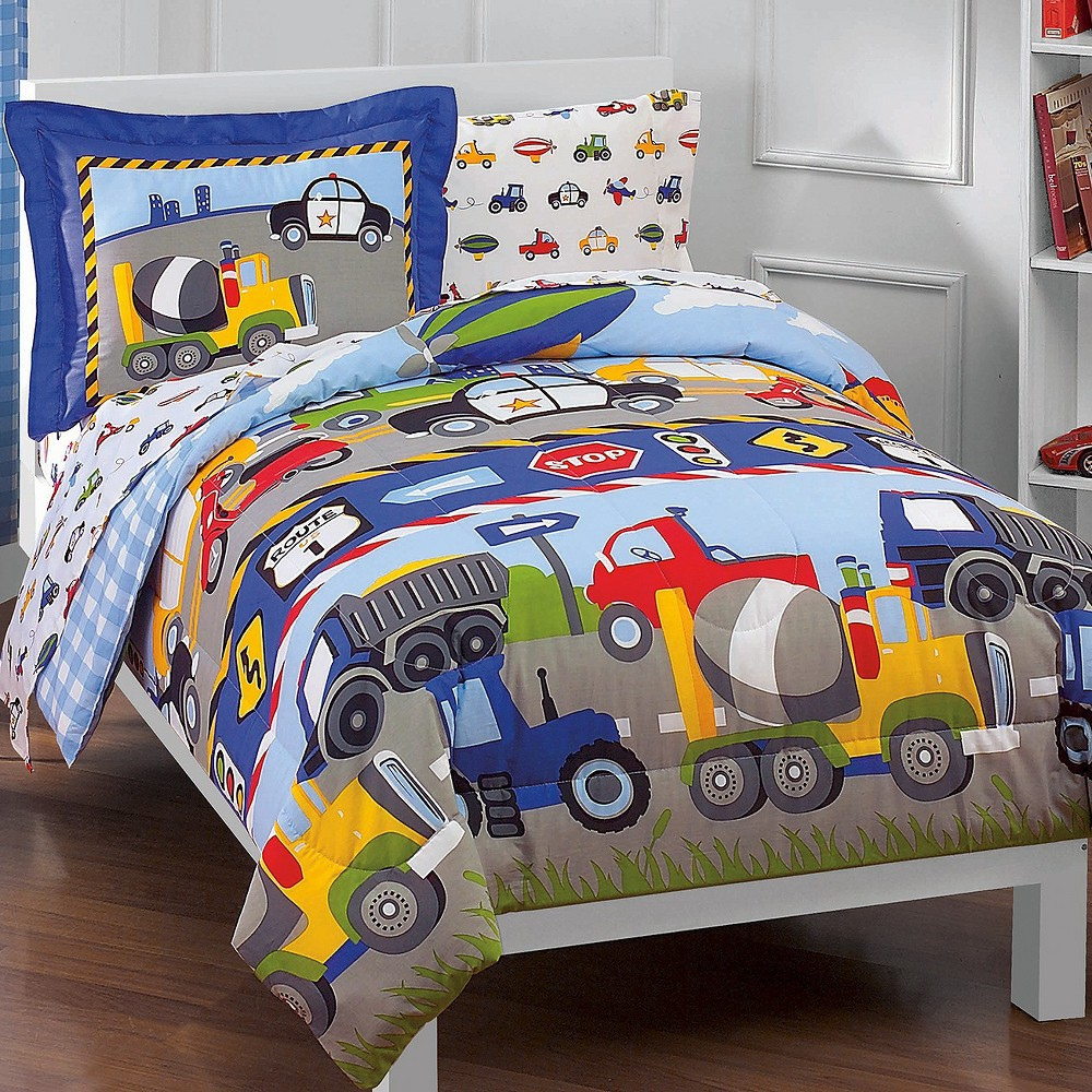 Dream Factory Trains And Trucks Mini Bed In A Bag Blue Twin