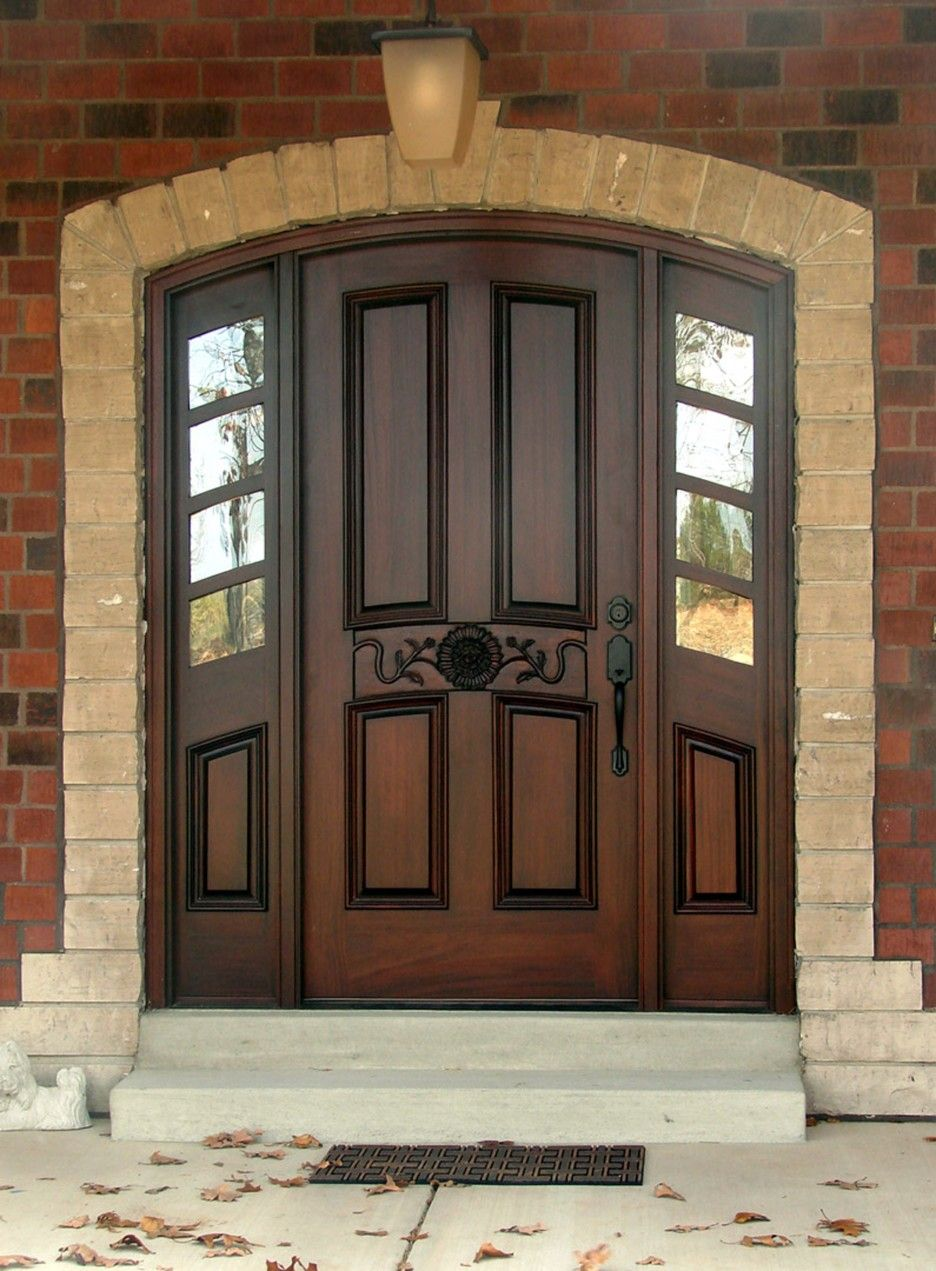 Exterior Dark Brown Wooden Door With Black Metal Handle Connected By Double Windows Chic Front Colors For Brick Houses Offers
