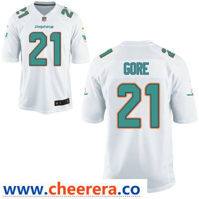 59d9b0f72fe Men's Miami Dolphins #21 Frank Gore White Road Stitched NFL Nike Game Jersey