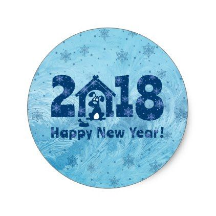 Year of the dog classic round sticker new years eve happy new