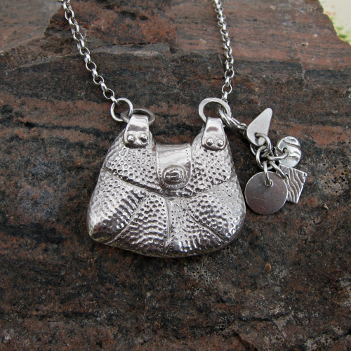 Silver handbag pendant with charms: Finished...   Handmade silver jewellery